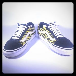 Vans black and yellow zebra print sneakers